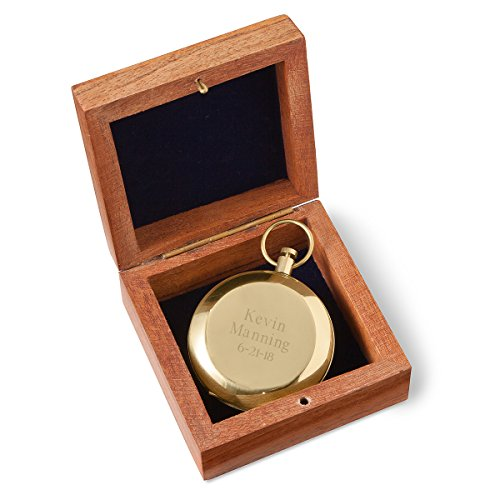 Personalized High Polish Gold Keepsake Compass with Wooden Box - 3 Lines