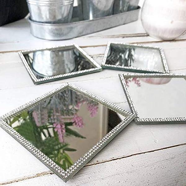 Lustre Silver Sparkle Glitter Mirrored Glass Coaster Set of 4 Mat Home Decor Dec