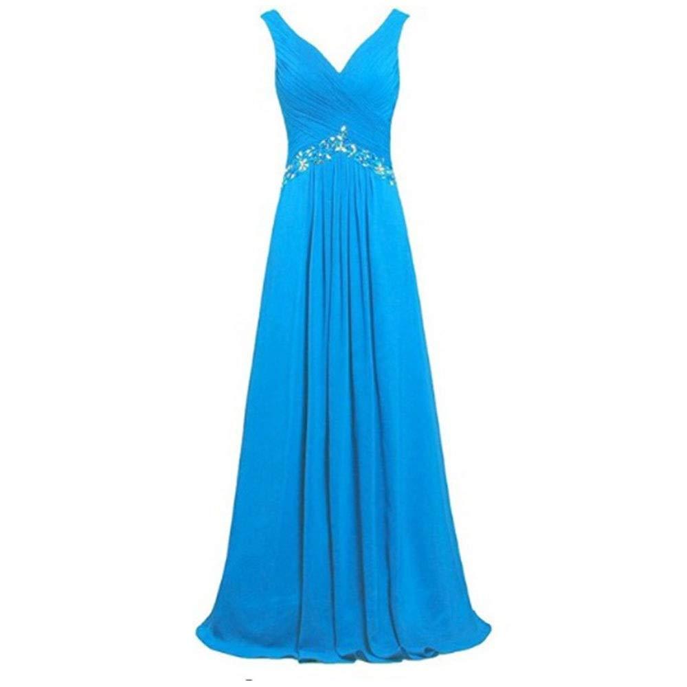 bluee MISSKERVINFENDRIYUN Women's Formal Fashion Solid Ruffles Sleeveless Evening Dress