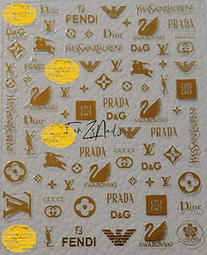 Go4Nails 2019 MIX Designers Inspired 3D Nail Art Stickers Self Adhesive (Gold) (3d Cc Art Nail)