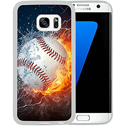 Galaxy S7 Edge Case,Flaming Baseball Fire and Water Samsung Galaxy S7 Edge Case Cover - TPU White Sales