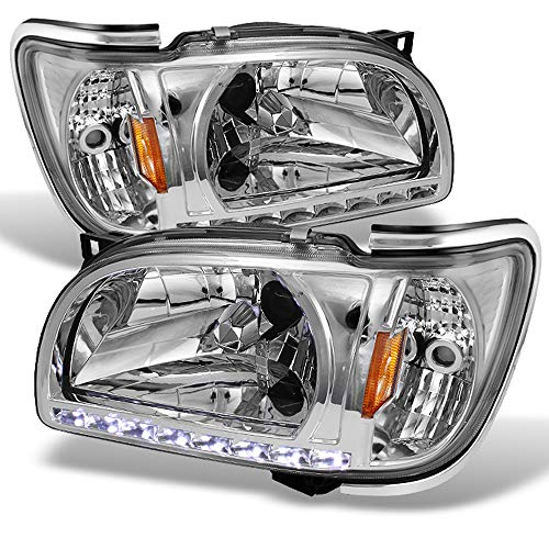 For 01 02 03 04 Toyota Tacoma Pickup Truck 1 Piece Clear Headlights [w/Silver Trim] Corner Signal Lamps Set ()