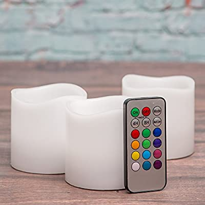 Richland Wavy Top Flameless LED Pillar Candles White with Remote Control