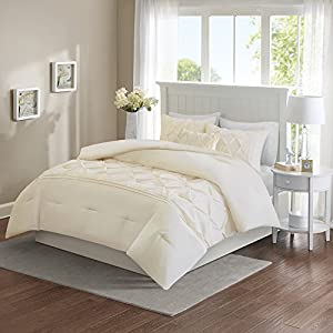 Comfort Spaces - Cavoy Comforter Set - 5 Piece - Tufted Pattern - Ivory/Off White - Full/Queen size, includes 1 Comforter, 2 Shams, 1 Decorative Pillow, 1 Bed Skirt