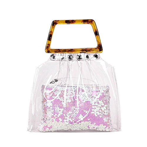 Handbag Bag Girls Casual Shoulder Pink Women Flap Hasp Clear Chain PVC Domybest Messenger AgCwqYPw