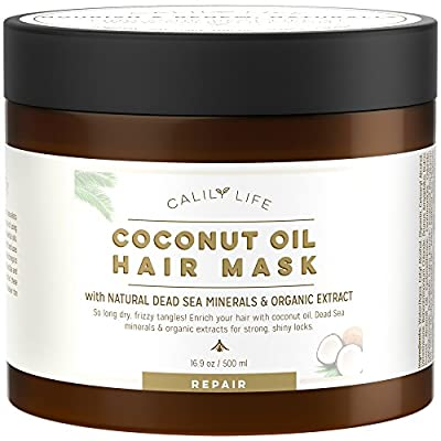 CalilyLife Organic Coconut Oil Hair Mask with Natural Dead Sea Minerals, 17 Oz.- Promotes Healing and Natural Hair Growth - Enriches and Repairs Damaged Hair, Hydrates, Softens, Shines & Strengthens