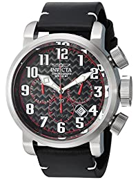 Invicta Men's 'Aviator' Quartz Stainless Steel and Leather Casual Watch, Color:Black (Model: 22261)