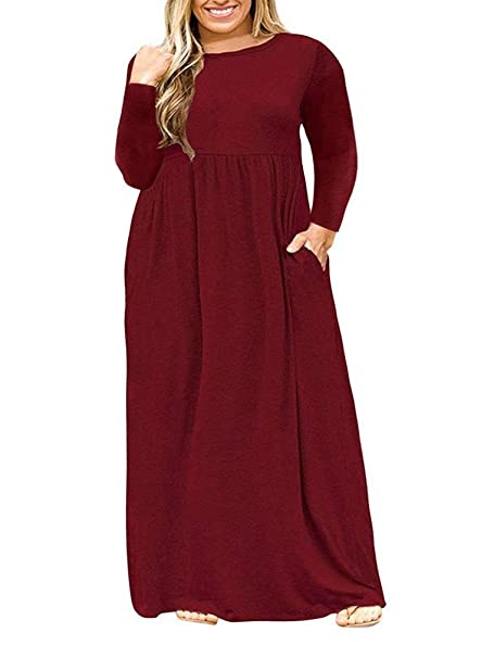 VISLILY Womens XL-4XL Plus Size Maxi Dress Long Sleeve Plain Long Dress  with Pockets
