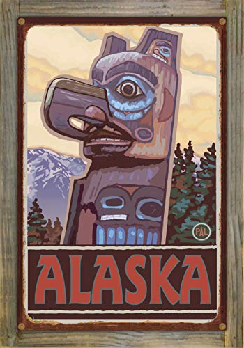 (Northwest Art Mall Alaska Totem Pole Rustic Metal Print on Reclaimed Barn Wood by Paul A. Lanquist (12