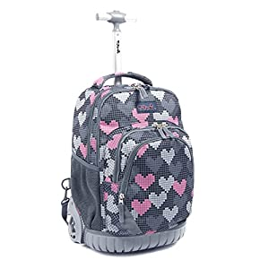 Tilami New Antifouling Design 18 Inch Human Engineering Design Laptop Wheeled Rolling Backpack Luggage for Girls (Falling Love)