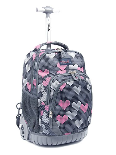 (Tilami New Antifouling Design 18 Inch Human Engineering Design Laptop Wheeled Rolling Backpack Luggage for Girls (Falling Love))
