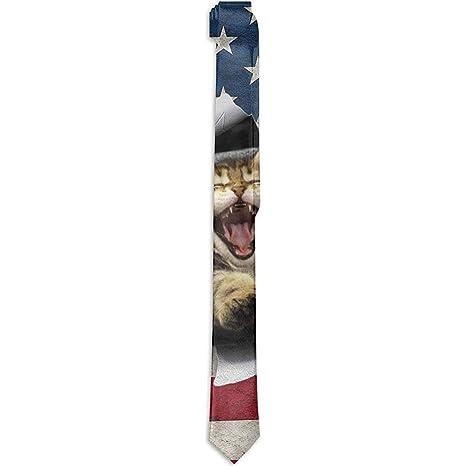 Corbata de los hombres Bandera americana rasgada Bostezo Gato Moda ...