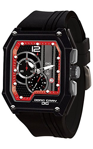 Jorg Gray JG7100-23 Men's Watch Chronograph Integrated Silicone Strap Black-Red Dial Rectangular Case