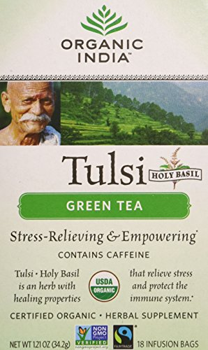 Organic India Tulsi Green Tea, 18-Count Teabags (Pack of 6)