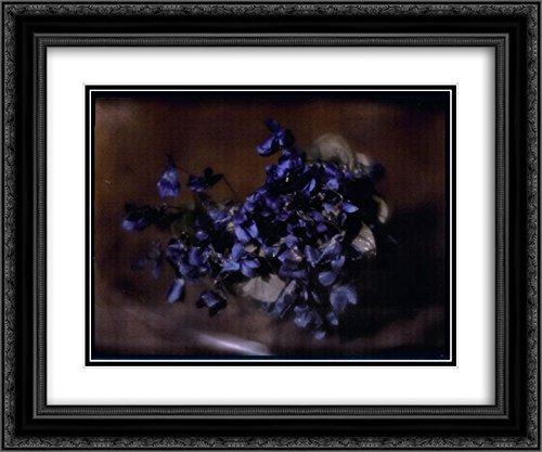 Heinrich Kuhn 2X Matted 24x20 Black Ornate Framed Art Print 'Violets'
