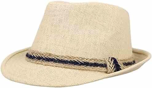 a701224d77e Jasmine Men Women s Classic Short Brim Miami Beach Panama Fedora Straw Hat