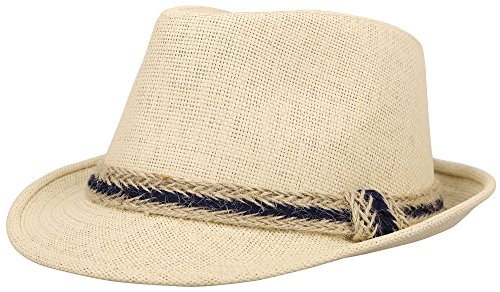 Simplicity Panama Style Fedora Straw Sun Hat with Band,Beige
