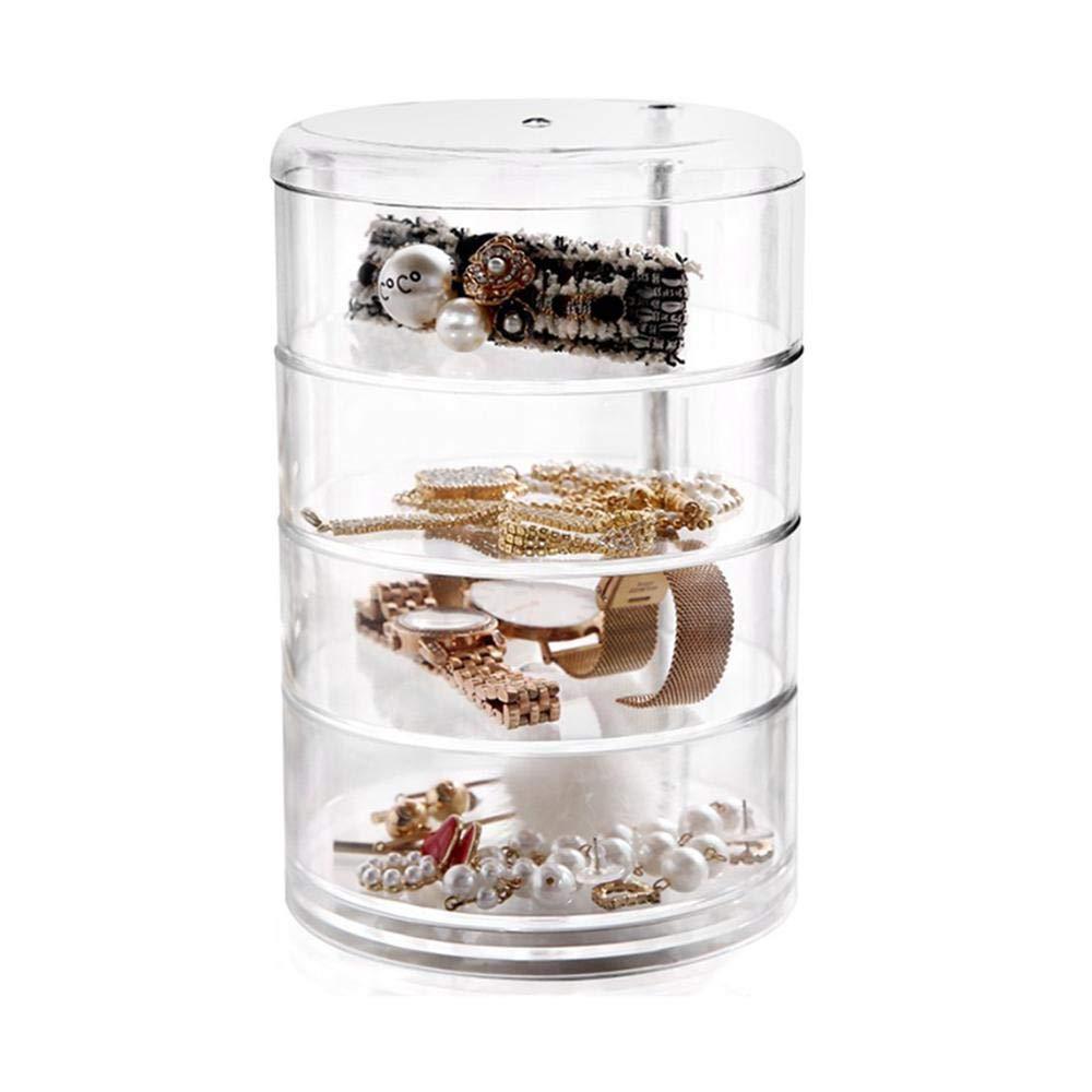 Womdee Makeup Organiser 360 Degrees Rotating Cosmetic Organizer Drawers Jewelry Storage Box Crystal Acrylic Perfume Display Stand for Dresser Bedroom Bathroom
