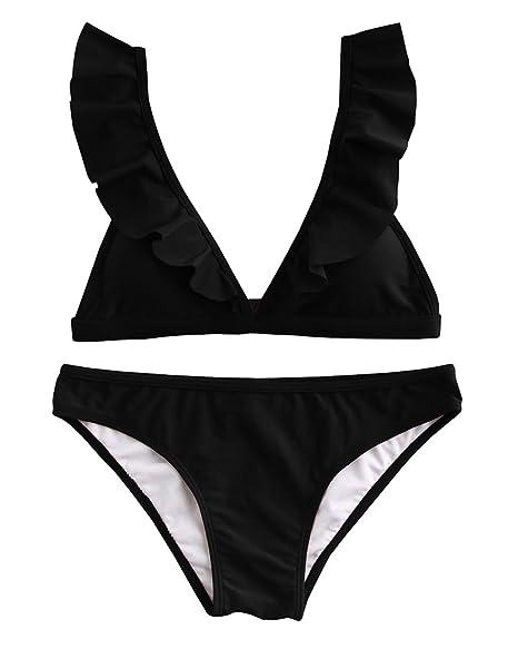7a0f160a24d Tutorutor Womens Ruffle Bikini Triangle Bathing Suits Solid 2 Piece  Swimsuits