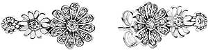 Pandora Pendientes con diseño de margaritas brillantes, 298876C01, plateados, 1,6 cm