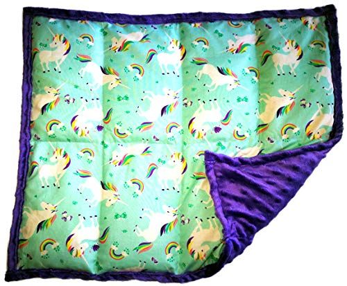 Weighted Lap Pad Weighted Lap Blanket - Calming Portable Sensory Support for Autism Anxiety Stress ADHD & Fidgets - Multiple Sizes & Prints (5 lbs & W 21'' x H 18'', Unicorns) by ReachTherapy Solutions )))