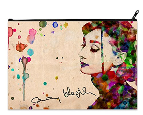Fashion Cosmetic Makeup Bag Coin/Cash Purse Pouch with Audrey Hepburn Print.
