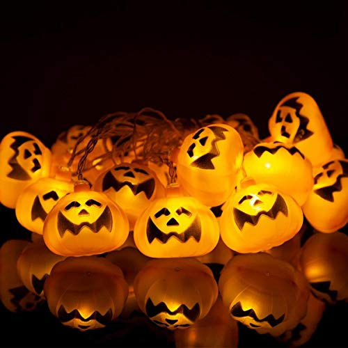 UNEEDE Halloween Decorations, 20 LED Halloween Pumpkin Lights Decoration Jack o Lantern String Lights Battery Powered Pumpkin Lantern Decor for Halloween Indoor Outdoor Party