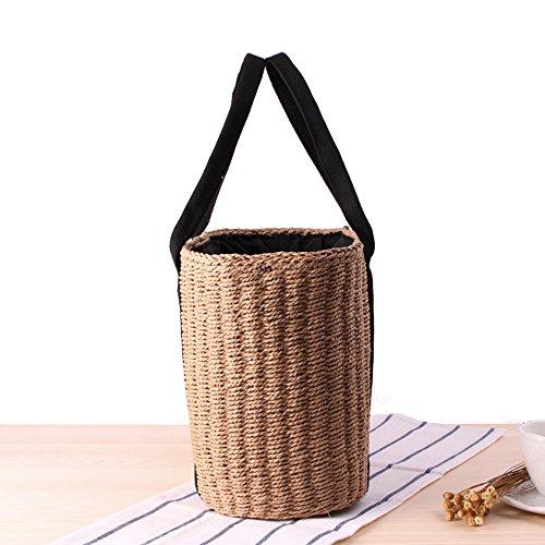 100 Ouli Gift Straw Beige Bag Bag And Bag Shoulder Store® Crossbody Handbags Summer Women Handmade Woven Beach Round FCrCHXqn