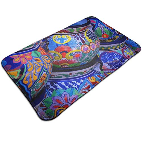TERPASTRY Non-Slip Thick Novel Beautiful Bowl Colorful Pottery Prints Doormat Water Absorbent Bathroom Rugs Machine-Washable Bath Mats 19.7x31.5 Inches
