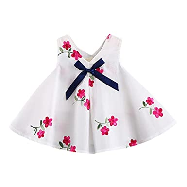 c1edcf1e79 Felicy Toddler Newborn Infant Baby Girls Party Princess Dress Girl Floral  Cartoon Print Bowknot Embroidery Dress Clothes Outfits  Amazon.co.uk   Clothing