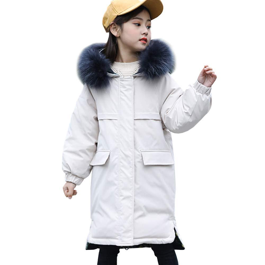 Beige 6 ans SXSHUN Manteau Fille Enfant Trench-Coat Hiver Doudoune Parka épaissie Chaud VêteHommest de Neige Ski Garçon Blouson à Capuche Fourrure Faux Porté Deux Côtés