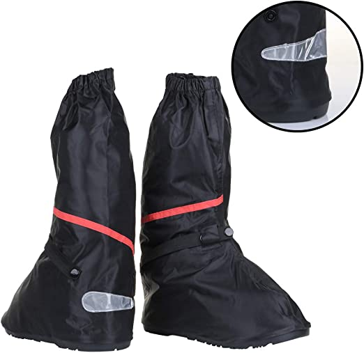 Anti Slip Waterproof Motorcycle Rain Boots Shoe Covers Men 10  11 Red Line Black