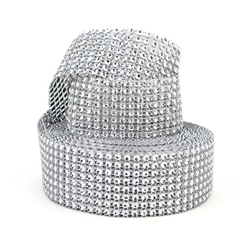 "Aspire Silver Diamond Mesh Wrap Roll Rhinestone Crystal Ribbon 1.5"" X 10 Yards 8 Rows"