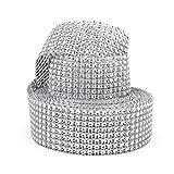 """Aspire Silver Diamond Mesh Wrap Roll Rhinestone Crystal Ribbon 1.5"""" X 10 Yards 8 Rows"""