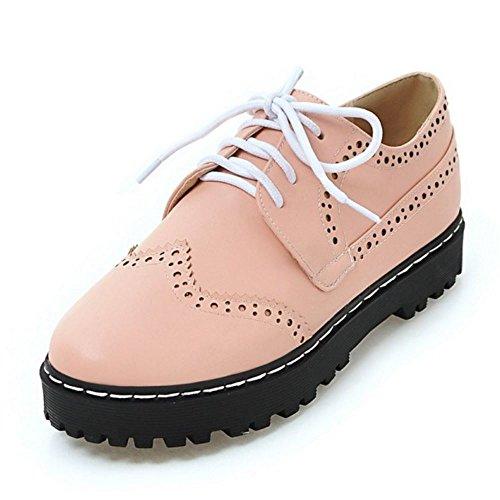 Zanpa Mujer Casual Oxford Shoes Cordones plataforma Zapatos Pink