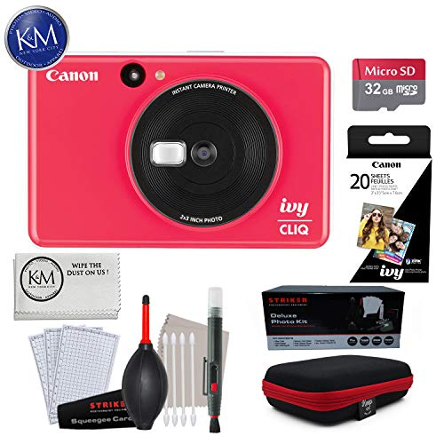 Canon Ivy CLIQ Instant Camera (Ladybug Red) w/Advance Instant Cam Bundle
