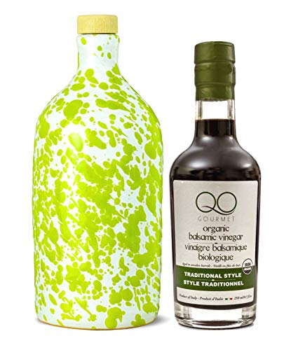 Olive Oil and Balsamic Vinegar Set | Frantoio Muraglia PUGLIA GREEN First Cold Pressed Italian Extra Virgin Olive Oil EVOO Ceramic Bottle & QO ORGANIC Traditional Thick Barrel Aged Balsamic ()