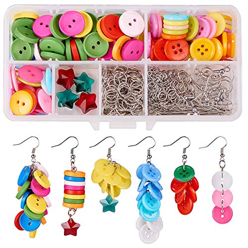 SUNNYCLUE 1 Box DIY 6 Pair Button Earring Jeweley Making Starter Kit Include 15mm(5/8