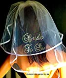Rhinestone Bride To Be Veil, Bridal Shower Veil, Wedding Veil