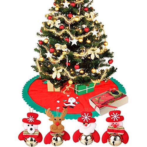 TRADERPLUS 4 Pcs Christmas Bells Decorations Hanging Ornaments & Tree Skirt, - Christmas Skirt Tree Bears