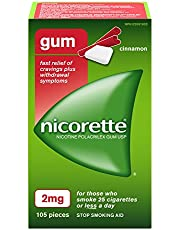 Nicorette Gum 2 mg, Cinnamon, 105 Count