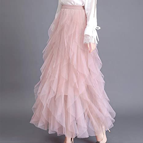 QYYDBSQ Primavera Mujeres Elegantes Faldas Largas Malla de Cintura ...