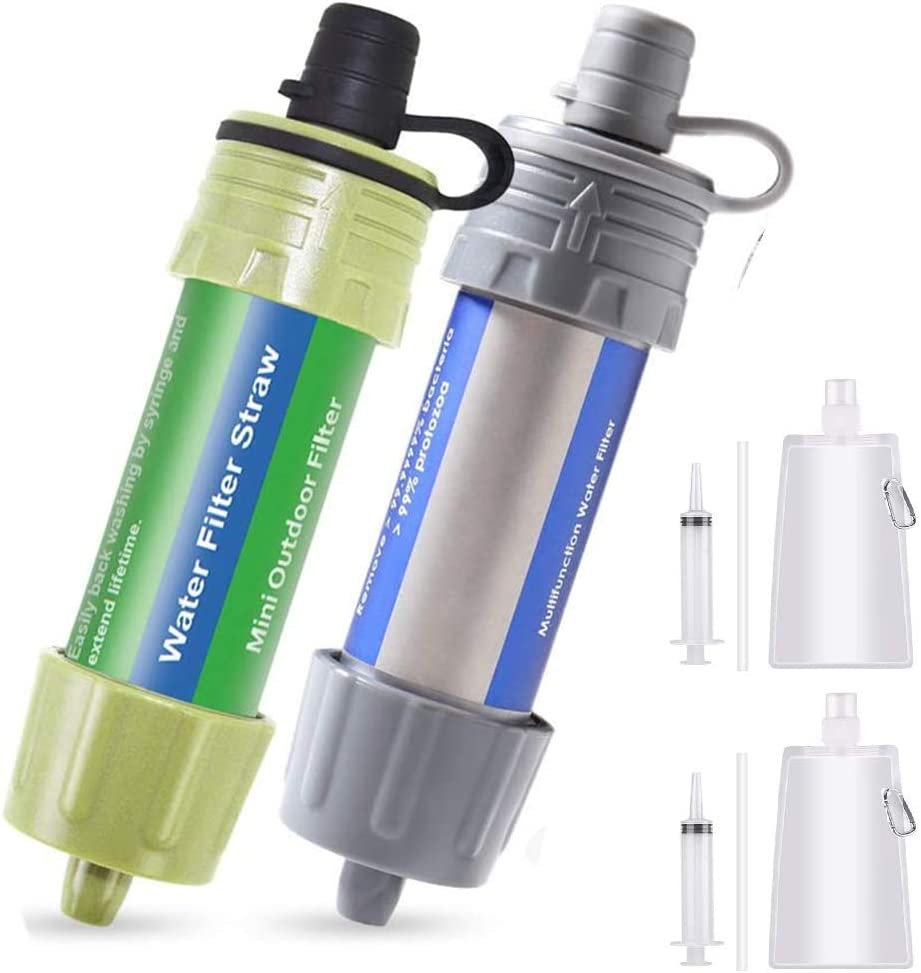 Lixada 2PCS Water Filter Straw with 5000L Filtration 0.01 Micron Purifier Survival Gear for Hiking, Camping, Travel, Emergency
