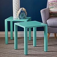 Nantuk Indoor Modern Teal Aluminum 16 Side Tables (Set of 2)