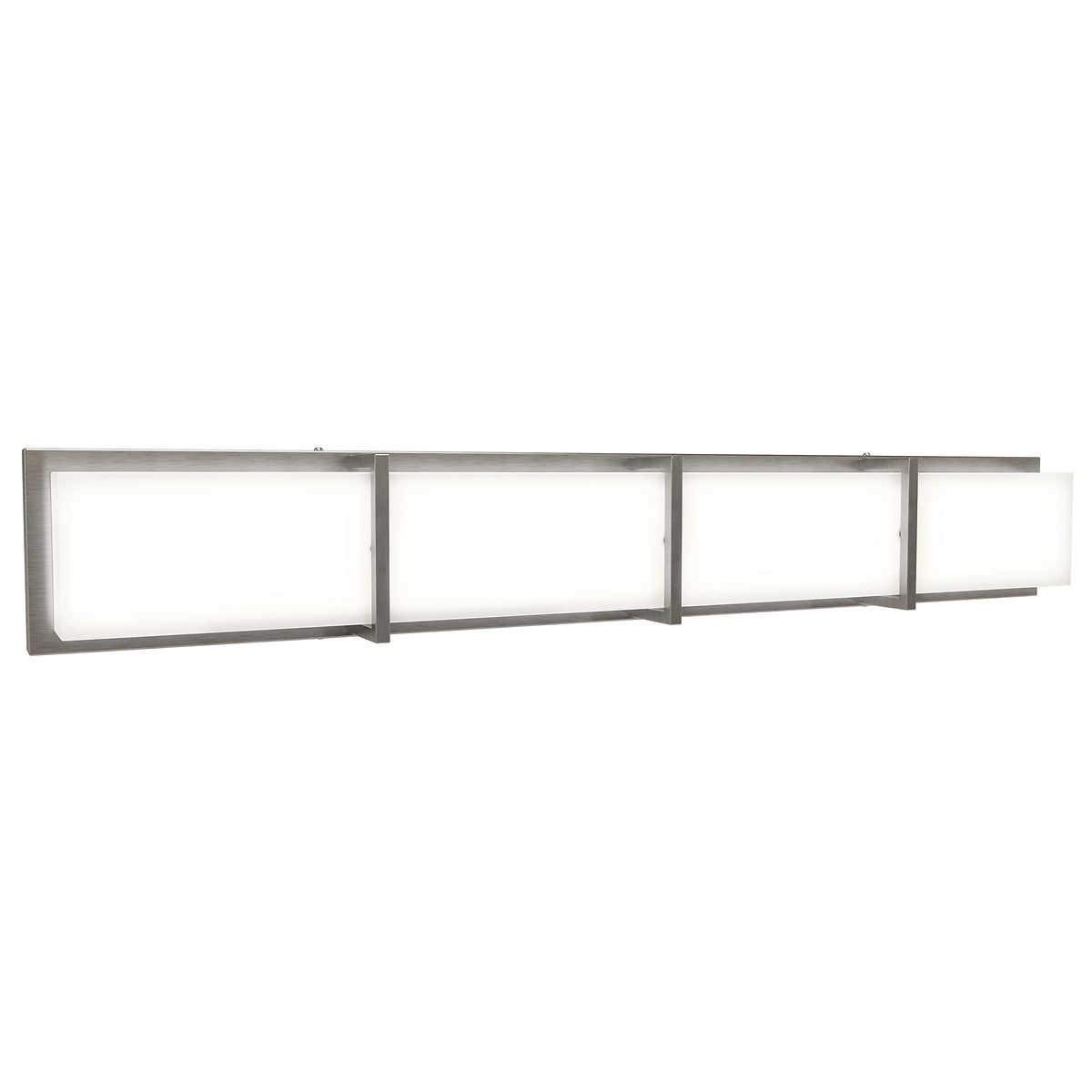 Bathroom Vanity Sink Subway 35 LED Light Dimmable Strip in Brushed Nickel Finish Clear Shades Chrome