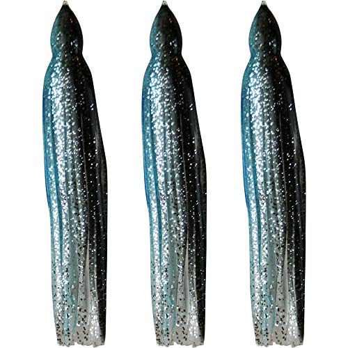 (Squid Skirts - No Eyes - 3 Pack - Black & Luminous Aqua Blue Sparkle - 8.5