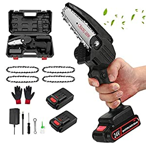 Mini Chainsaw Set 24V Electric Chainsaw 4 Inch Cordless Handheld Battery Chainsaw with 4 Chain and 2 Battery Portable…