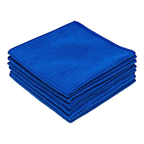 Microfiber Waffle Weave Kitchen and Dish Drying Towels | 16 x 16 in. (6 Pack) | Absorbent, Streak Free, Thick, Hand, Tea…
