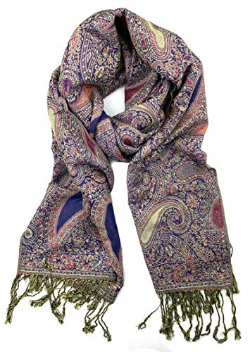 (Plum Feathers Tapestry Ethnic Paisley Pattern Pashmina Scarf (Pink Blue Teardrop Paisley))