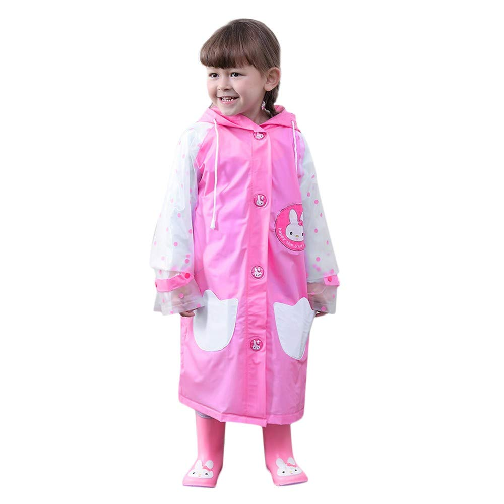 VEKDONE Kids Raincoat with Bows Girl Boy Waterproof Hood Rain Jacket Outdoor Age 2-6 with Bag